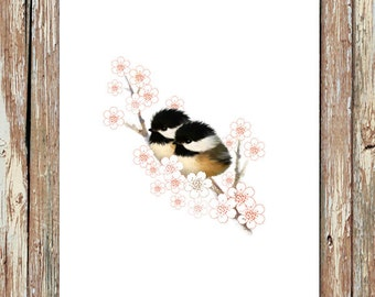 Chickadee painting, baby bird print, baby chickadees, bird painting, baby chick, baby animal print, baby animal nursery art, chickadee art