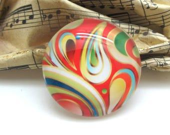 1 cabochon 25 mm glass round swirl Swirl red Orange - 25 mm
