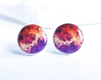 Galaxy earrings- Space earrings- Universe earrings- Nebula earrings- Galaxy post earrings- Purple galaxy jewelry, Stars, Red, Orange, Purpl