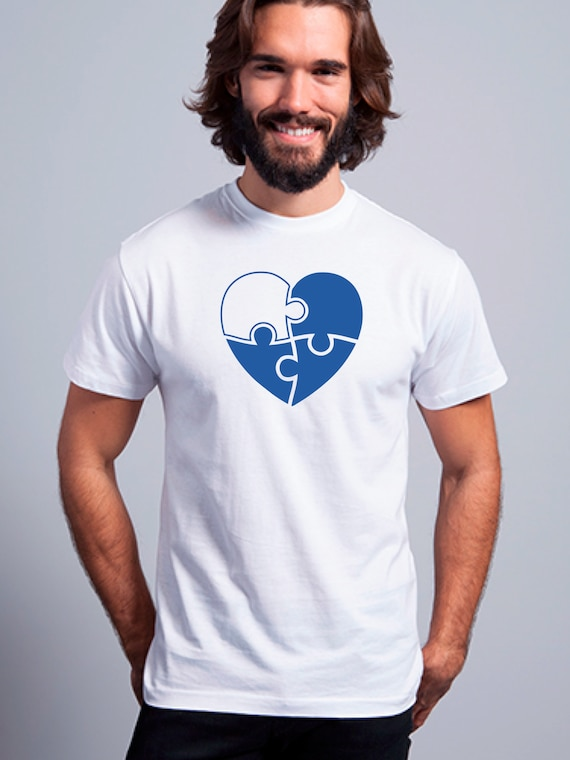 Round neck men short sleeve t-shirt PUZZLE HEART