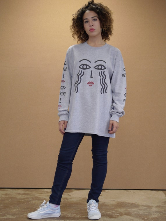 Baggy Oversized Grey Long Sleeved T-shirt With Illustrated Athena Graphic Print 90s Drop Shoulder Streetwear 1005 3Qlp0uaAKY