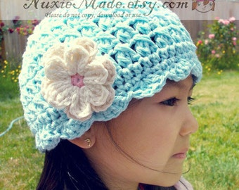 Turquoise Toddler Hat 6-12 months, Toddler Girl Blue Hat, Girls Hat with Flowers, Flapper Beanie Hat, Child Cotton Hat, Robins Egg Blue Hat