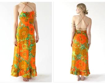 60s Neon Hawaiian Maxi- XS/S, green and Orange, Hippie Boho Festival Floral, Halter, FUMI, Neon Strappy Cookout Luau Dress