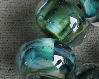Mystic River Rapid Lampwork Spacer Handmade Glass Beads Encased Green White Blue Choice 2 4 5 or 6 bead set