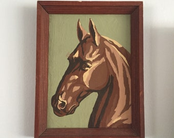 """Vintage paint by number horse head framed 7x9"""" 1960s mid century western"""