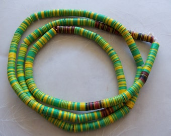 "32"" Strand Vintage African Vinyl Vulcanite Record Disc Beads ~ 6mm ~ Green Yellow Red Black"