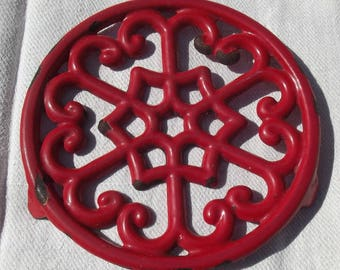 Vintage French 1920s Cast Iron Red EnamelTrivet Hot Plate Pan Stand Hearts Stars Scrolls