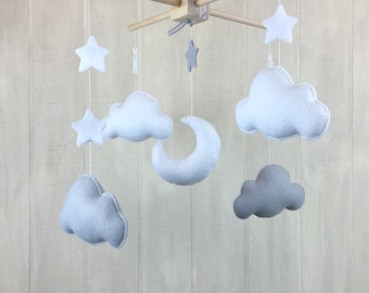Baby mobile - cloud baby mobile - star mobile - baby crib mobile - hanging mobile - crib mobile - clouds and stars - grey and white mobile