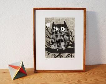 owl · original linocut · Limited Edition · DIN A5