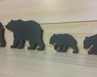 Black Bear Family - Bear Wall Art - Bear Woodwork - Wooden Bear Silhouette - Bear Family Art - Bear Family of 4 - Animal Art