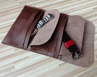 Leather watch roll with individual closure of each pocket, Anniversary gift, Watch Organizer, Travel Case, Watch Roll Leather, Tool roll