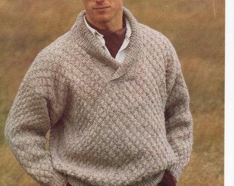 mens wrap neck sweater aran knitting pattern 99p pdf