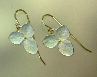 Drop Earrings, Hydrangea Earrings, Flower Earrings, Sterling Silver Flowers, Botanical Jewelry, 18k Gold Earwires, Made to order