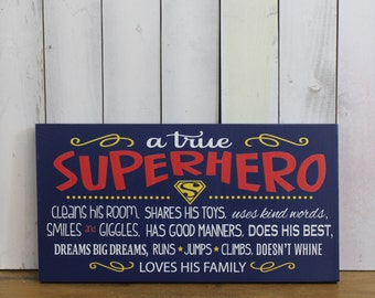 A true SUPERHERO/Subway Style/Boy Sign/Boy's Decor/Gift/Crown/Red/Navy Blue/Yellow/Horizontal/Wood Sign/Hand Painted/Super hero