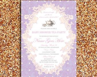 Vintage, Floral Baby Shower or Bridal Tea Party Invitation   DIY Printable Digital File