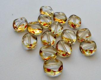 15 Clear Picasso Diamond Cut Czech Ovals, 9mm, Ovals, Window Cut, Czech Beads, Beads, Supplies, Jewelry Supplies, Jewelry Making