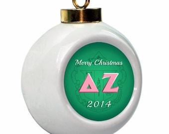Delta Zeta Christmas Ball Ornament with Logo