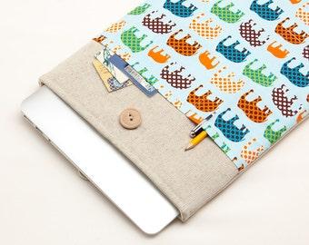 30% OFF SALE White Linen MacBook 15 Case. Case for MacBook 15 Pro Retina. Sleeve for MacBook 15 Pro with colorful elephants pocket.