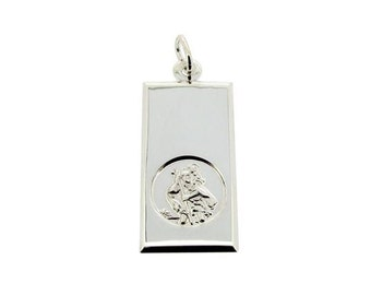 St Christopher Sterling Silver Ingot Small Necklace Pendant with Personalised Engraving Options - custom engraved front or back or both