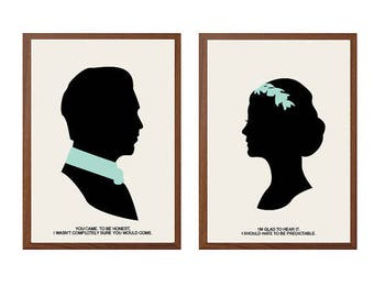 Downton Abbey | Glad To Hear It Poster : Modern Illustration Matthew  & Mary Crawley TV Series Retro Art Wall Decor