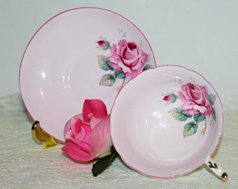 Vinatge Paragon Bone China Teacup & Saucer Pink Set with Large Pink Rose and Green Leaves