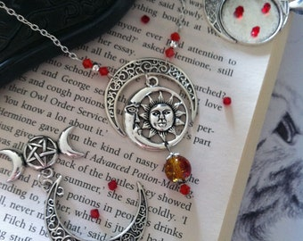Wiccan moon sun bohemian necklace