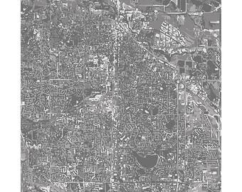 Fort Collins Cityscape Print / Colorado Wall Art Poster / Colorado State University City Map / 8x10 Grad Gift / Choose your color