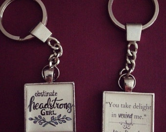 Pride and Prejudice Jane Austen quote keychain -choose one