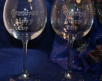 2 Personalized Large Wine Glasses,  18 ounce capacity,  Free Personalization