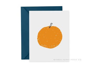 Orange card, Citrus Note Card, orange greeting card, stationery, blank greeting card, Minimalist fruit art, Fruit Note card, Recycled Paper