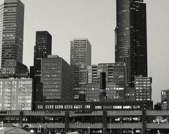 Seattle Skyline Photo, Seattle photography, Seattle print, Washington photo, black and white