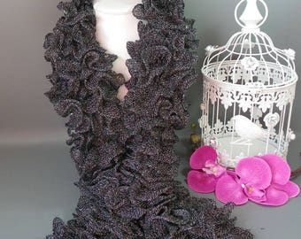 Scarf CAN CAN black with glitter silver fancy * 100 g * length 140 cm