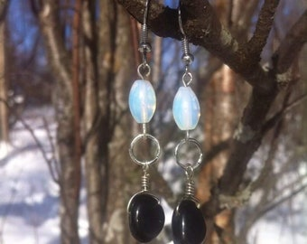 Opalite + Onyx dangle earrings