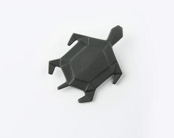 PORCELAIN  BROOCH TURTLE/Black porcelain/Porcelain origami/Origami pin/Origami brooch/Porcelain pin/Japaneese origami/Origami turtle