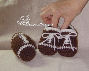 Baby Football Booties and Toy Football - INSTANT DOWNLOAD Crochet Pattern