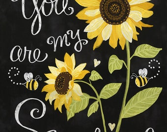 You Are My Sunshine Sunflowers & Bees Cotton Fabric Panel C5344 by Timeless Treasures! [Choose Your Cut Size]