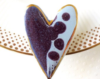 SALE! Ceramic Heart Brooch. Light Blue. Purple. Clay. Pale Blue. Periwinkle. Alice Blue. Blue Gray. Porcelain. Large Pin. 22K Gold. Simple