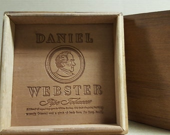 Wooden Pipe Tobacco box - Daniel Webster