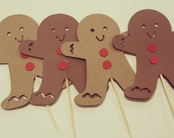 10 GINGERBREAD CUPCAKE TOPPERS