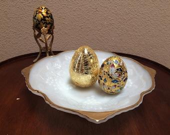 WHITE GLASS and GOLD Bowl, White Glass and Gold Serving Plate, Press White Glass Fruit Bowl