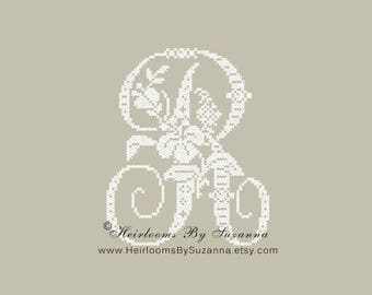 "Large Antique Floral Monogram - Machine Cross Stitch Embroidery - Tropical Flower Initial - Cross Stitch Font - Floral Font ""R"" - HBS-61-R"