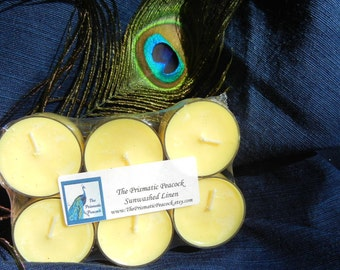 Sunwashed Linen Scented Soy Tea Light Candles Six Pack Yellow