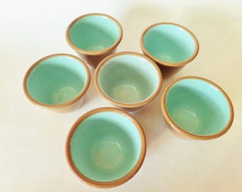 Vintage Ceramic Custard Cups - Retro Egg or Cake Dishes - Set of 6 - Chateau Buffet USA