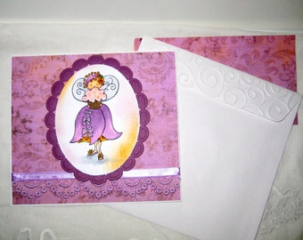 Birthday handmade card      Tulip Fairy with Cupcake      Purples