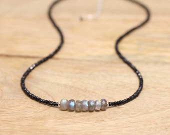 Labradorite & Black Spinel Necklace in Sterling Silver, Rose or Gold Filled. Flashy Blue Gemstone Choker or Long Beaded Layering Necklace