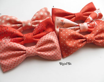 Coral Bow Ties, Coral Mix and Match, Coral Coordinated Bow Ties, Wedding Bow Ties, Groomsmen Bow Ties