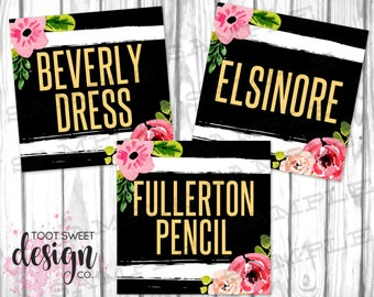 Piphany Clothing Name Cards, Piphany Style Card 5x5, FB Shop Tags, Facebook Album Covers, Black White Stripe Floral, INSTANT DOWNLOAD