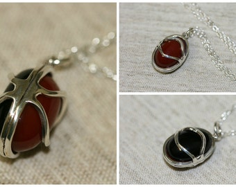 Double Stones Necklace, Carnelian Necklace, Onix  Silver Nacklace , 925 Sterling Pendant, Silver Jewelry, Handmade Pendant,