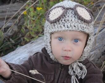 Aviator Crochet Hat Pattern: Child's Pilot Hat, Kid's Winter Fashion