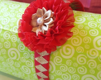 Red and Gold Woven Headband